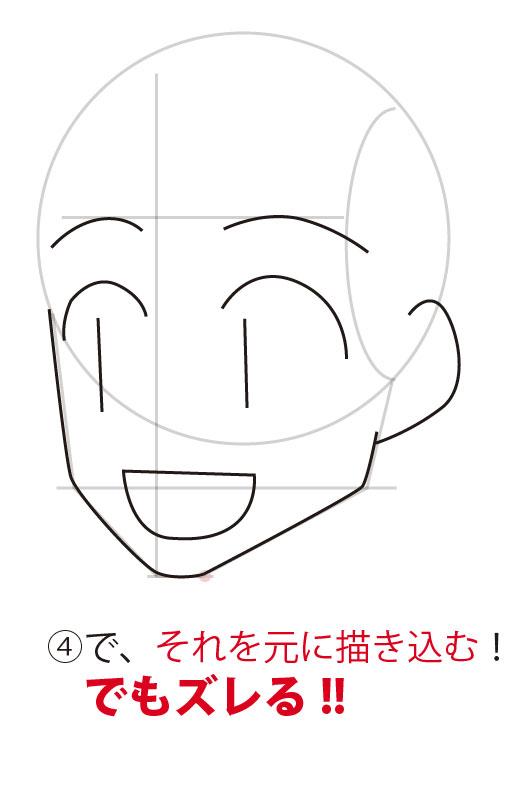 丸と三角で頭のアタリを作る。