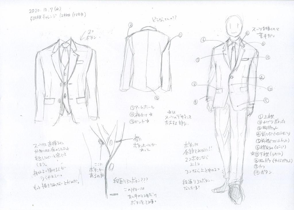 12日目はスーツの描き方を考えてみた
