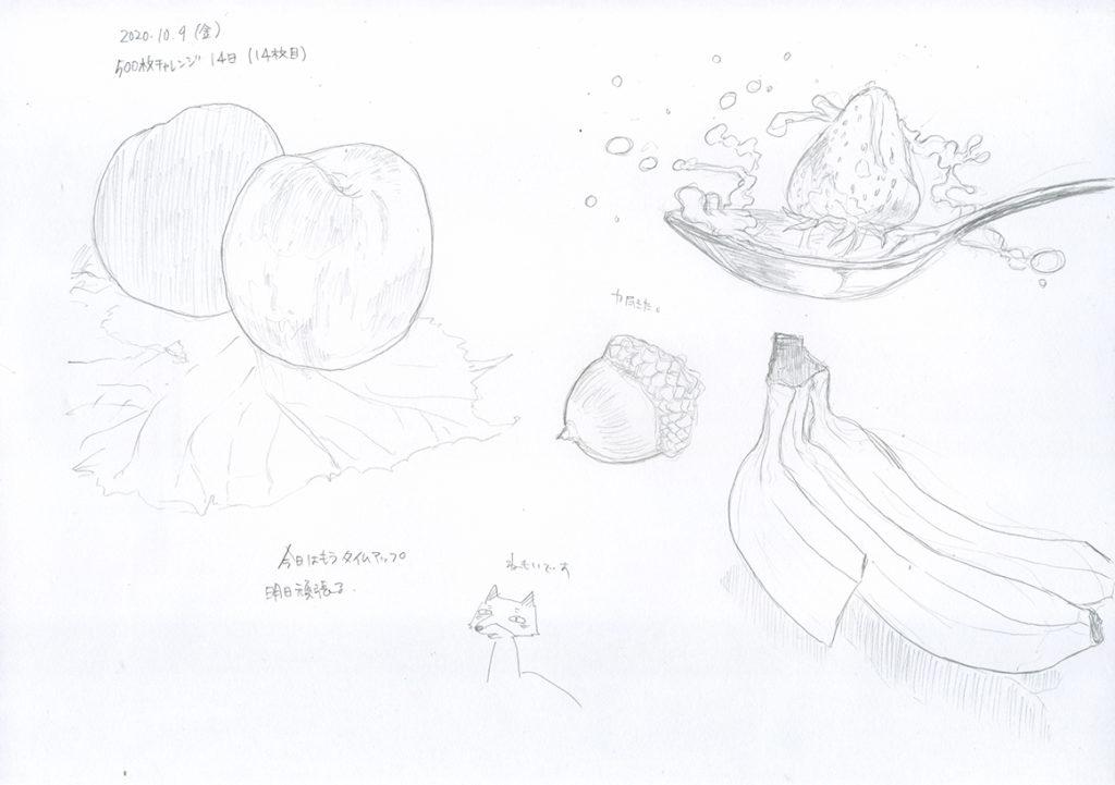14日は果物を描いて終わる