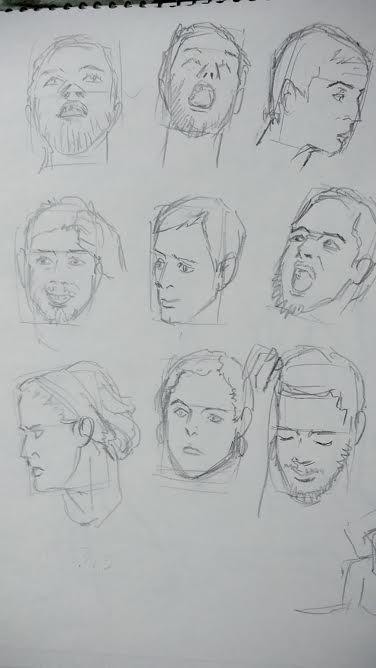 顔の模写とクロッキー